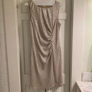 Calvin Klein gold shimmer ruched dress